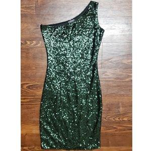 Fashion Nova, green Sequence bodycon Dress